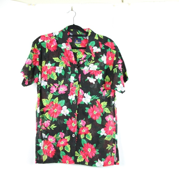 00598ae8 Lizsport Tops | Vintage 80s 90s Floral Button Down L Hawaii Black ...